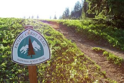 pacific crest trail association trail guide sign two