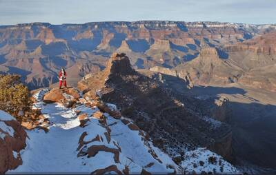 grand canyon national park snow backpacking santa claus without baggage all rights reserved