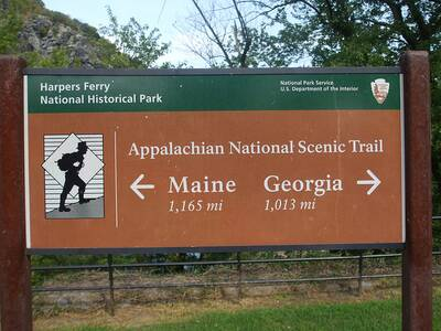 appalachian trail on the rise main sign harpers ferry