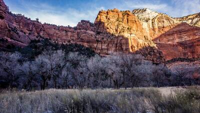 epic winter hikes zion national park sand bench trail winter