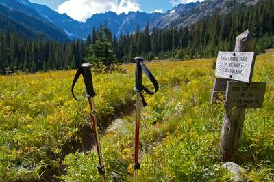 reasons to hike with trekking poles trailhead