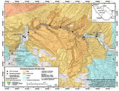 aravaipa canyon wilderness BLM map