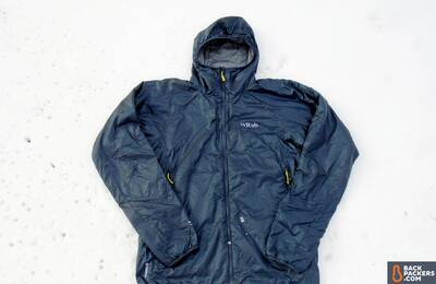 Rab Xenon XTechnical Hoodie in snow full shot