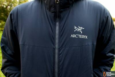 arc'teryx atom lt Coreloft Insulation logo and chest taffeta shell
