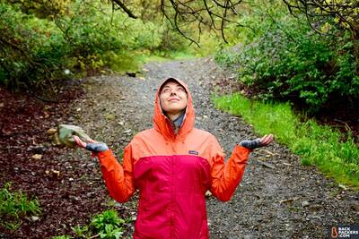 patagonia torrentshell Environmentally Friendly Rain Jacket on the trail