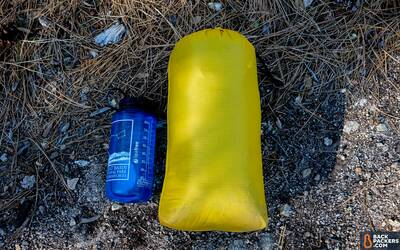 Feathered-Friends-Egret-Sleeping-Bag-review-logo-featured-nalgene-size-comparison