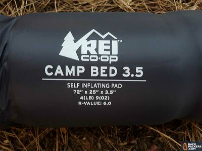 rei-camp-bed-3.5-review-logo-close-up