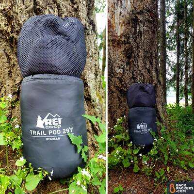 REI-Trail-Pod-29-review-close-up-of-bag-in-stuff-sack