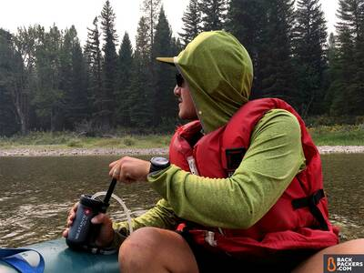 Katadyn-Hiker-Pro-review-pumping-on-river