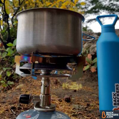 Primus-Classic-Trail-Stove-review-off-with-pot-and-water-bottle