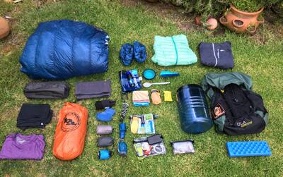 thru hiking the john muir trail gear spread