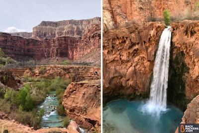 Havasupai Falls Hike in ArizonaMooney Falls Right Navajo Falls Left