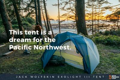 Shi Shi Beach Camping and Hiking in Olympic National Park Jack-Wolfskin-Exolight-III-Tent