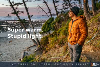 Shi Shi Beach Camping and Hiking in Olympic National Park-My-Trail-Co-Men's-850-Fill-Hyperlight-Hooded-Down-Jacket-smile-pull-quote