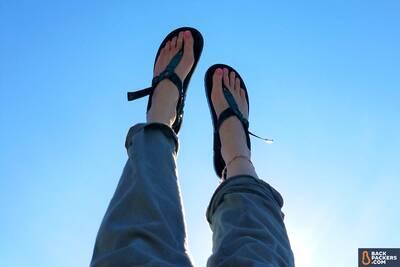 Bedrock-Sandals-Cairn-3D-review-against-blue-sky