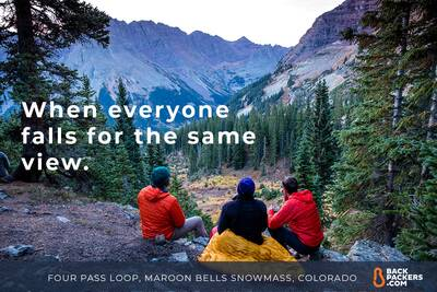 everyone falls for view four pass loop maroon bells snowmass wilderness enlightened equipment revelation chilling