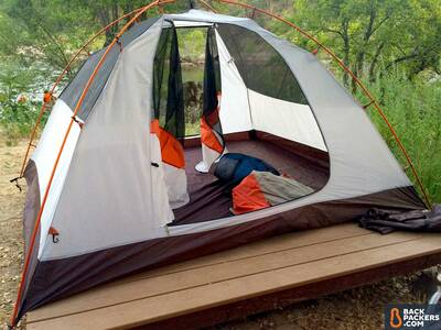 best 4 person camping tents-Alps-Mountaineering-Lynx-4-review-tent-set-up-on-stand-3