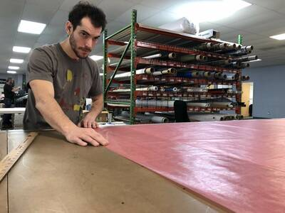ripstop by the roll Cutting DCF on production floor