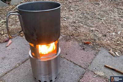 Solo-Stove-Titan-flame-with-pot Portable Wood Burning Camp Stove