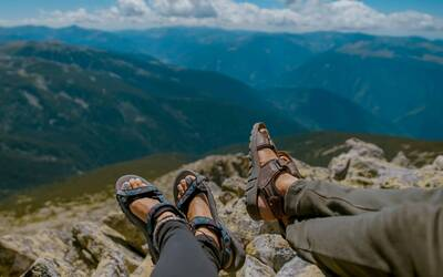 rei registry featured image two sandals overlooking viewpoint