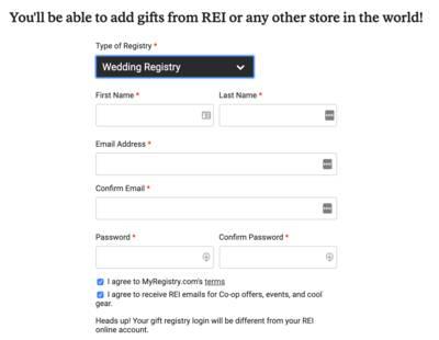 rei wedding registry login creation
