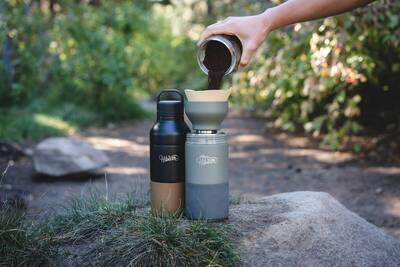 HiBear Design Co all-day adventure flask two bottles coffee grounds