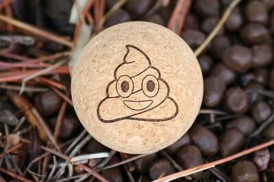 rawlogy cork massage ball Poopemoji-background