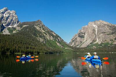 Paddlers on the water in Grand Teton National Park