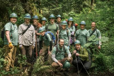 Volunteers on an supported trail project